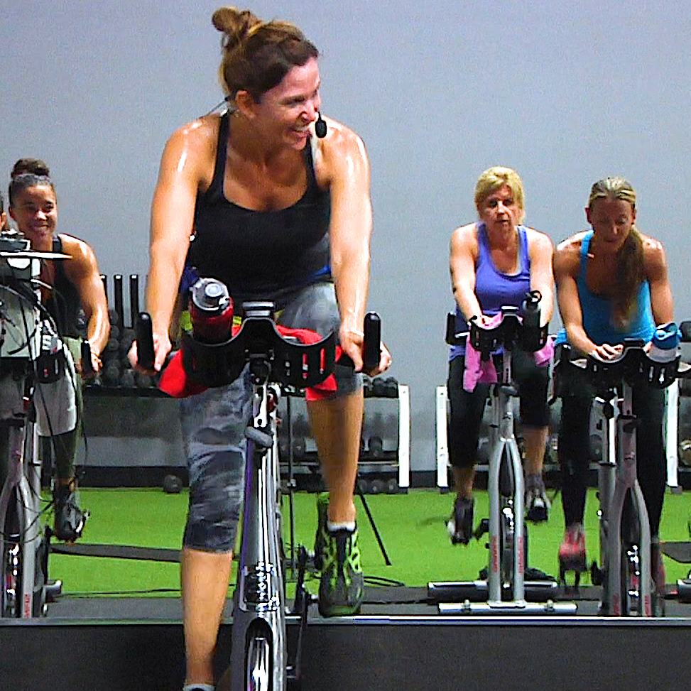 Instructor teaching a Spinning class